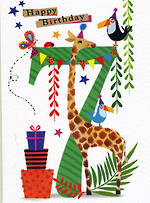 Birthday Age Card 7 Girl Jenny Wren Giraffe