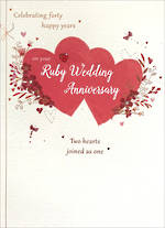 Anniversary Card 40th Ruby Paper Gallery Hearts