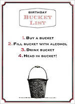 Humourous Birthday Card Wine O'clock Bucket List