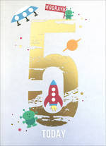Birthday Age Card 5 Boy Apollo Space