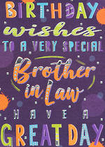 In Laws Birthday Card Bangers & Flash Brother In Law