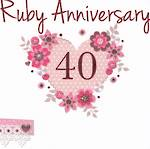 Anniversary Card 40th Ruby Made With Love Heart