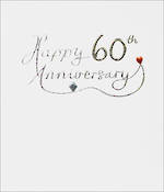 Anniversary Card 60th Diamond Mimosa Text