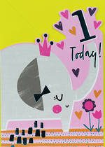Birthday Age Card 1 Girl Elephant