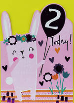 Birthday Age Card 2 Girl Bunny Balloons
