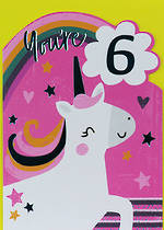 Birthday Age Card 6 Girl Happy Unicorn