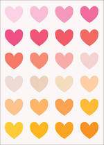 Mini Card Blank Colourful Hearts