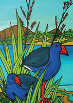Mini Card Jo May Pukeko Scene