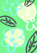 Mini Card Doodle Flowers On Green