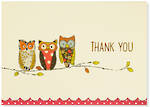 Thank You Note Cards Perching Owls
