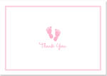 Thank You Note Cards Baby Step Pink
