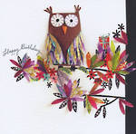 Artisan Happy Birthday Owl Branch