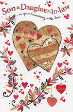 Anniversary Card Son & Daughter-in-Law Hearts