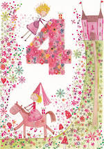 Birthday Age Card 4 Girl Daisy Patch Princess