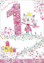 First Birthday Age Card 1 Girl Daisy Patch Kitten