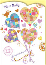Baby Card Mosaic Hearts
