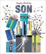 Son Birthday Card Mosaic Presents