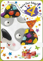 Birthday Age Card 4 Girl Puppy And Paint
