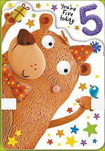 Birthday Age Card 5 Boy Party Bear
