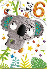 Birthday Age Card 6 Boy Koala
