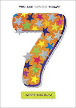 Birthday Age Card 7 Zing Boy Stars