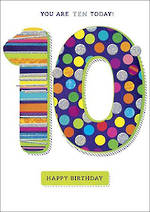 Birthday Age Card 10 Boy Zing Spots Stripes