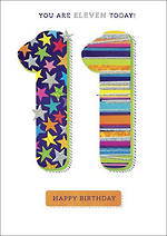 Birthday Age Card 11 Boy Zing Stars Stripes