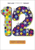 Birthday Age Card 12 Boy Zing Spots & Stars