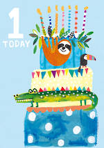 Birthday Age Card 1 Boy Hoopla Animal Cake