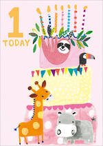 Birthday Age Card 1 Girl Hoopla Animal Cake