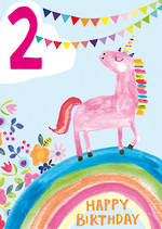 Birthday Age Card 2 Girl Unicorn Rainbow