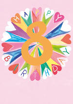 Birthday Age Card 8 Girl Hoopla Colour Heart