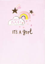 Baby Card Girl Whisper Rainbow
