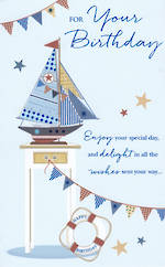 Birthday Card Male Tall Sail Boat