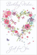 Birthday Card Female Floral Heart