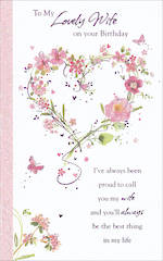 Wife Birthday Card Tall Lovely Heart