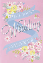 Bridal Shower Card Pink Flowers
