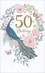 Birthday Age Card 50 Female Peacock Floral