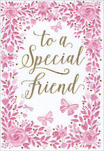 Birthday Card Female Special Friend Pink Floral