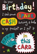 Humorous Birthday Card Roar Spare Cash
