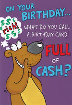 Humorous Birthday Card Roar Card Full Of Cash