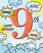 Birthday Age Card 9 Boy Boom Wow