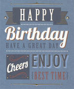 Birthday Card Male Talk The Type Text Blue