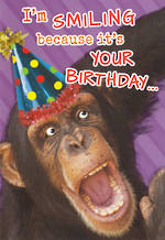 Humorous Birthday Card Roar Hum Smiling Monkey