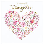 Daughter Birthday Card Floral Heart