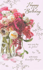 Birthday Card Female Vase Pink Flowers