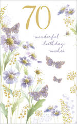 Birthday Age Card 70 Female Blue Garden