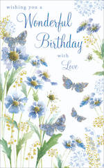 Birthday Card Female Blue Garden