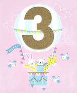 Birthday Age Card 3 Girl Hot Air Balloon