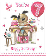 Birthday Age Card 7 Girl Dogs And Cake